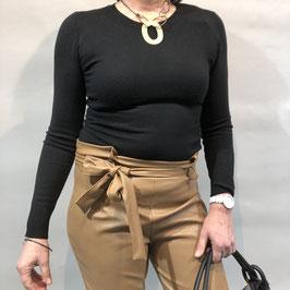 Cognac-braune Hose aus veganem Leder mit hohem Bund - Größe S/M