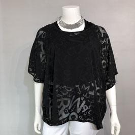 Schwarze transparente Bluse von KjBrandt mit gebranntem Muster in Größe 58