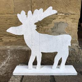Weißer Elch auf einem Sockel / Holz