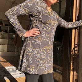 Adini Tunika grau mit senfgelbem Print