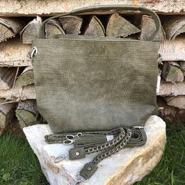 Olivgrüne Kunstleder-Tasch mit Croco-Prägung, 2 Gurten und Innentasche