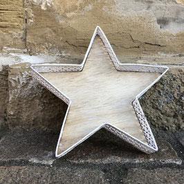 Stern-Tablett weiß / Holz