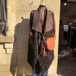 Super-weiche ärmellose Wendejacke in Dunkelbraun mit Tasche