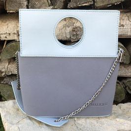 Elegante Umhängetasche in Hellblau in Glatt- und Wildleder-Optik