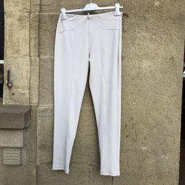 Beige schmale Hose mit Reißverschluss am Bein und Gummizug - Gr. S