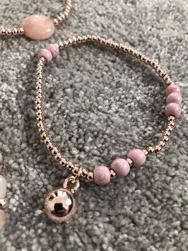 Armband rosegold und rosa mit Kugel