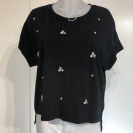 Schwarzes Shirt mit Strass-Applikationen (M/L)