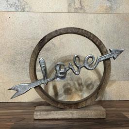 Deko-Objekt Love aus Holz mit silbernem Schriftzug