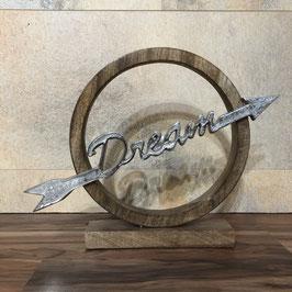 Deko-Objekt Dream aus Holz mit silbernem Schriftzug