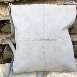 Hellgraue Kunstledertasche mit abgenähten Quadraten - Wildleder-Look