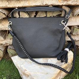 Schwarze Kunstleder-Tasche mit 2 Gurten und Innentasche - matt