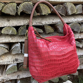 Rote Tasche mit Animal-Prägung und braunem Griff - Kunstleder