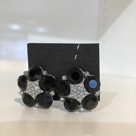 Clips mit schwarz/silbernen Strasssteinen