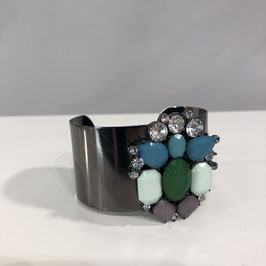 Armreif Silber/Grün mit Steinen