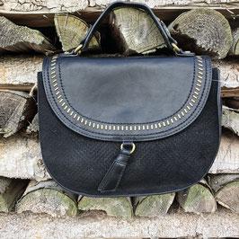 Halbrunde Kunstledertasche von ZaZas mit Kurzgriff und Gurt zum Schultern in Schwarz