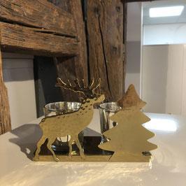 Teelichthalter Hirsch/Tannenbaum gold/gehämmert