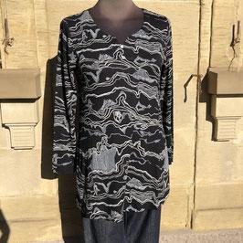 Schwarze Adini-Bluse mit weißem Print