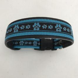 Halsband ,Pfötli mit Herz blau' Gr. M