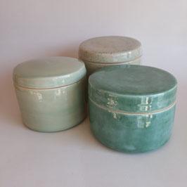 opbergpotten set van 3; turquoise/munt
