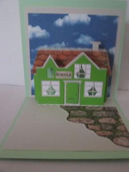 PopUp Karte, Zur Einschulung,  Grußkarte, Haus, Grün, Handarbeit