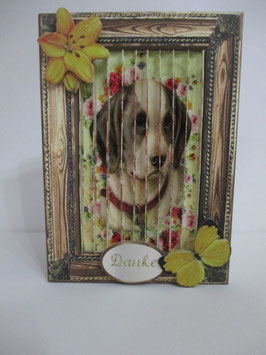 Dreifach Grußkarte Hund Braun, 3 in 1
