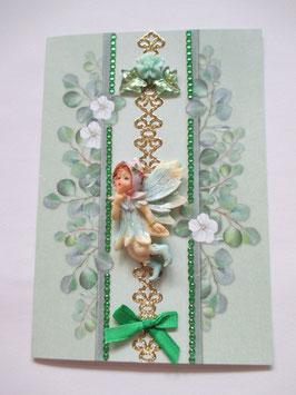 Grußkarte neutral, Elfe, Fee Grün 2