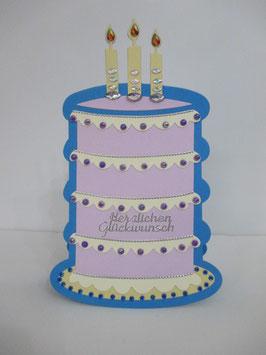 Geburtstagskarte Torte, Kuchen, Blau/Lila Handarbeit