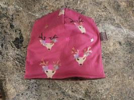 Wendebeanie Hirsche Blumen Pink