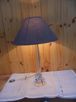 PIED EN VERRE  -  LAMPE DE CHEVET - FIL ELECTRIQUE A  L INTERIEUR DU PIED