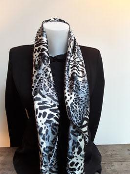 4. Tijgerprint sjaal zwart met grappif grijs franje/ kantje