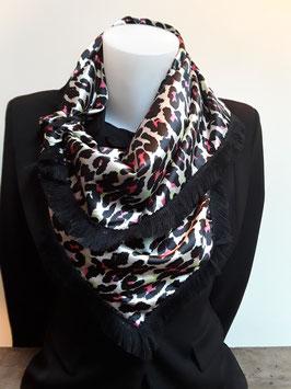 7. Tijgerprint roze zwart met zwarte franje