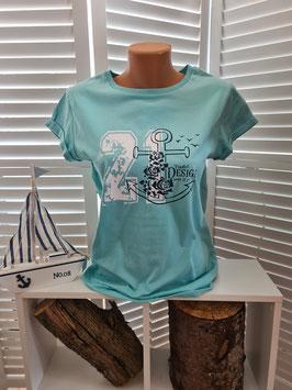 Damen-Shirt Türkis & Anker Navyblau