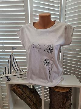 Damen-Shirt hinten lang weiß & Pusteblume