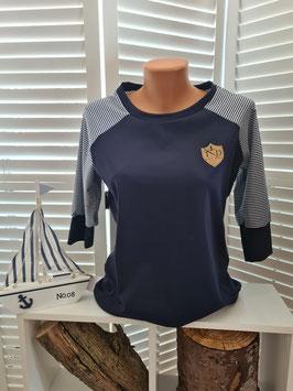 Shirt mit 3/4 Arm blau/weiß