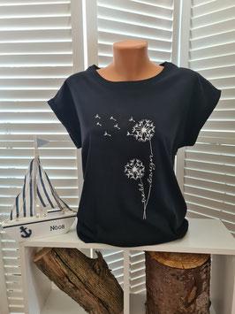 Damen-Shirt schwarz & Pusteblume