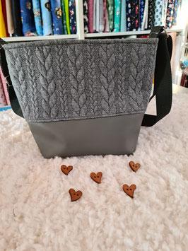 10. Mini Trödel Tasche Zopfmuster hell grau