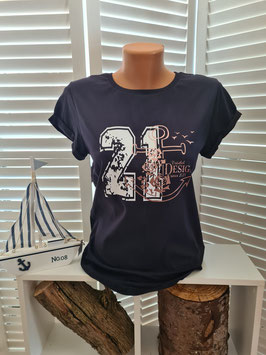 Damen-Shirt Navyblau & Anker Rosegold
