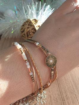 Bracelet multi-rangs Emma Doré Blanc