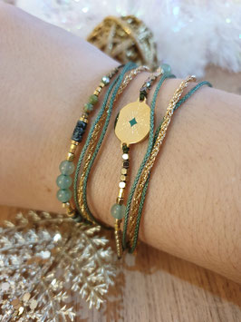 Bracelet multi-rangs Emma Vert Clair