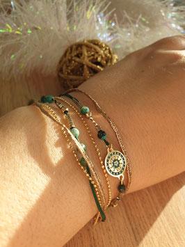 Bracelet multi-rangs Cloé Doré Vert