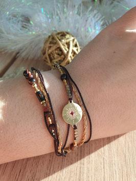 Bracelet multi-rangs Emma Doré Bordeaux / Marron