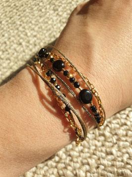 Bracelet multi-rangs Gisèle Doré Onyx