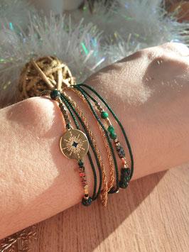 Bracelet multi-rangs Emma Doré Vert Sapin