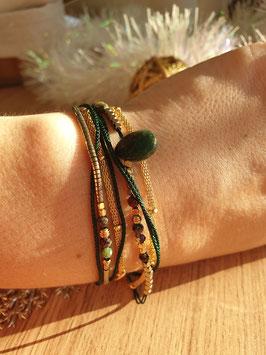 Bracelet multi-rangs Leyla Doré Vert