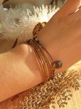 Bracelet multi-rangs Leyla Doré Marron