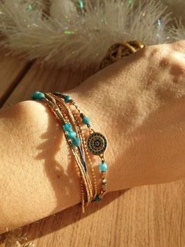 Bracelet multi-rangs Cloé Doré Bleu