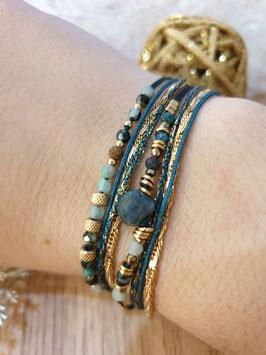 Bracelet multi-rangs Iseult Doré Bleu