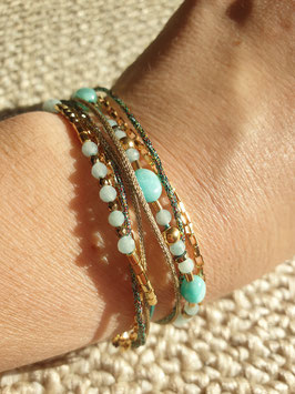 Bracelet multi-rangs Gisèle Turquoise