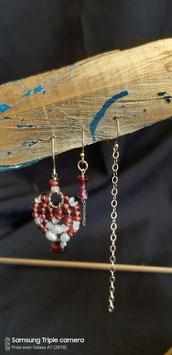 Trio de grenat de la princesse des mers boucles d'oreilles gold filledgrenats d'Etiopie, perles blanches et pierre de lune