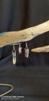Trio cristal plaqué or et perle noires boucles d'oreilles goid filled